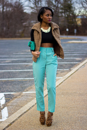 black Forever 21 top - aquamarine American Apparel pants