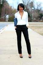 black Gap pants - white American Eagle shirt - black Christian Louboutin heels