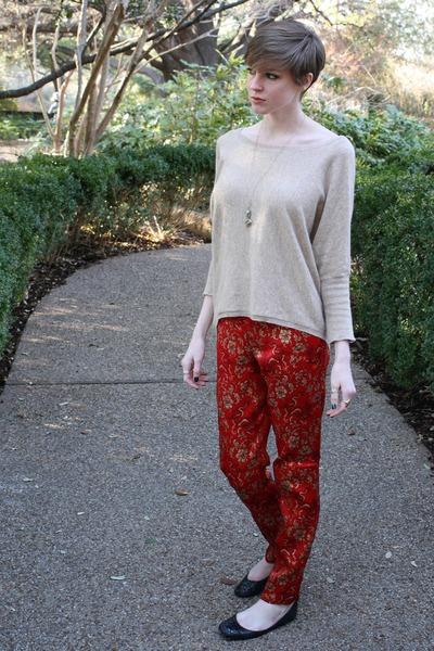beige Forever 21 sweater - black Steve Madden flats - ruby red asian brocade thr