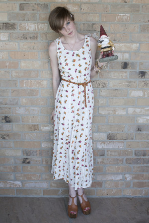 white floral thrifted dress - light brown braided thrifted belt - light brown Je
