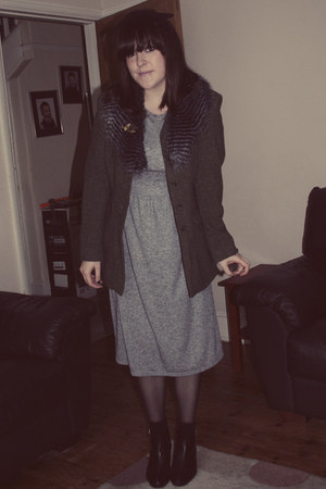 charity shop blazer - Topshop dress - Primark hat - charity shop accessories