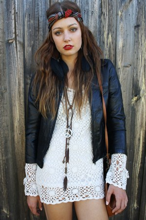 Black leather patchwork vintage jacket jacket