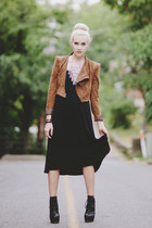 black DIY boots - brown suede BCBG jacket - black studded BCBG skirt