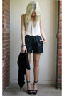 Black-leather-gianni-bini-shorts-black-forever-21-vest-beige-tank-bcbg-top