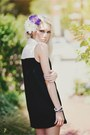 Black-forever-21-dress-violet-diy-hat