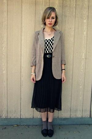 tan thrifted blazer - white polka dot thrifted top - black sheer thrifted skirt