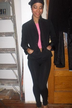 black Gap blazer - black inc leggings - pink vintage shirt