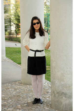 black hotic shoes - off white Topshop sweater - white with flowers H&M tights -