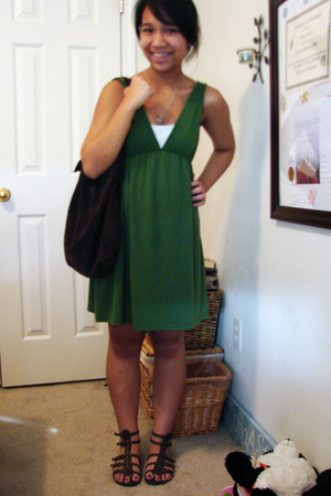 brown shoes - green babydoll dress - brown purse - white camisole top