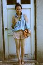 Blue-vintage-ralph-lauren-shirt-shirt-pink-alex-lane-shorts-brown-prada-shoe