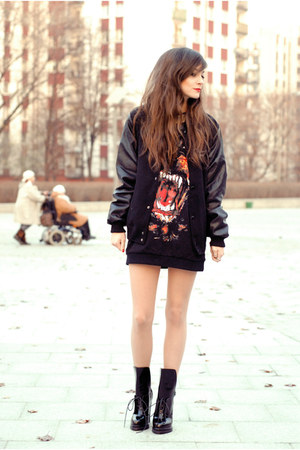 black retro Zara boots - black leather Choies jacket