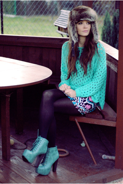 aztec Motel Rocks dress - fur H&amp;M hat - mint romwe jumper