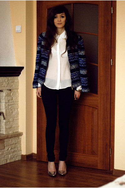 navy aztec Zara blazer - black skins Bershka pants