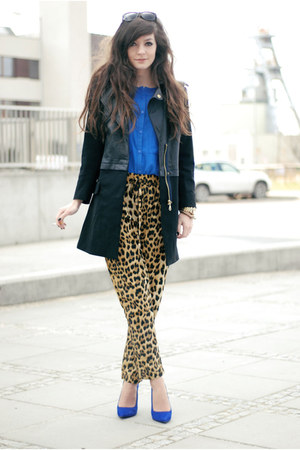 black zara Sheinside coat - blue chiffon romwe shirt