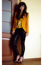 Black-rocker-h-m-leggings-black-retro-zara-heels-yellow-print-choies-blouse