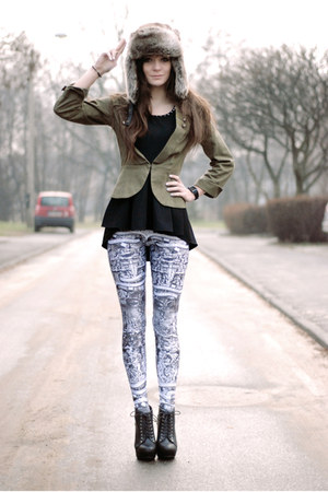 dark khaki military H&M blazer - rocker Lovelysally leggings