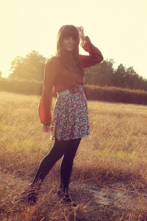 Forever 21 skirt - LuLus tights - Forever 21 top - Blowfish Shoes heels