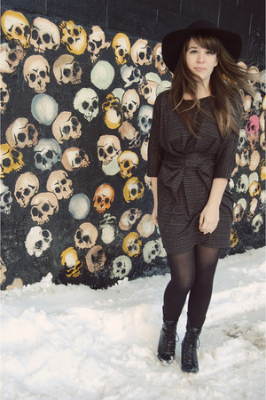 black Forever 21 boots - black threadsence dress - black Urban Outfitters hat -