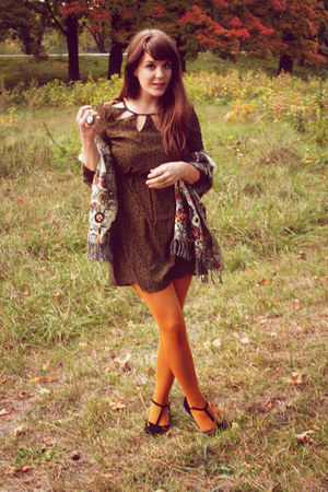 army green Ruche dress - mustard Target tights - camel Anthropologie scarf