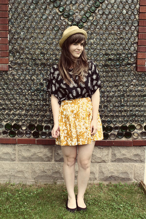 beige modcloth hat - yellow Forever 21 skirt - black Forever 21 top - black Blow
