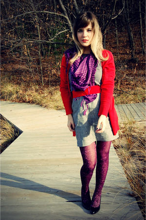 purple Ragstock scarf - red Limited cardigan - gray Forever 21 skirt - red Forev