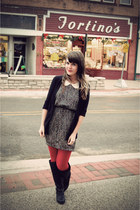 ruby red Target tights - black Blowfish Shoes boots - black modcloth dress