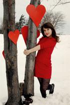 black Jeffrey Campbell boots - ruby red BB Dakota dress - black Forever 21 tight