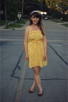 gold modcloth dress - brown Urban Outfitters shoes - white Forever 21 accessorie