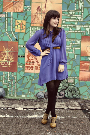 violet vintage dress - black HUE tights - dark khaki modcloth heels