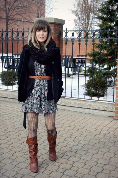 blue skirt from finders keepers swap dress - brown Target boots - black H&M coat