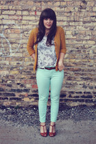 aquamarine modcloth pants - mustard AGAR cardigan - ivory Forever 21 top