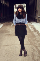 black Target scarf - brown shoemint boots - black Urban Outfitters skirt
