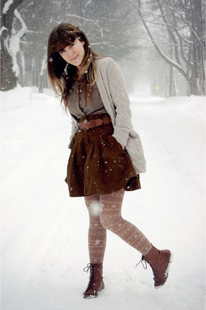 dark brown French Connection skirt - dark brown Vintage crown boots