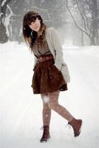 dark brown French Connection skirt - dark brown Vintage crown boots