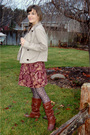 Pink-thrifted-skirt-brown-betsey-johnson-tights-beige-gap-jacket-brown-for