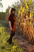 black modcloth tights - burnt orange swapped dress - black Dolce Vita wedges
