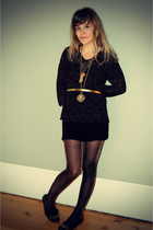black thrifted sweater - gold Forever 21 belt - gold Forever 21 tights - black F