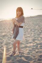 white Megan Nielsen dress - gray Urban Outfitters belt - gray Urban Outfitters s