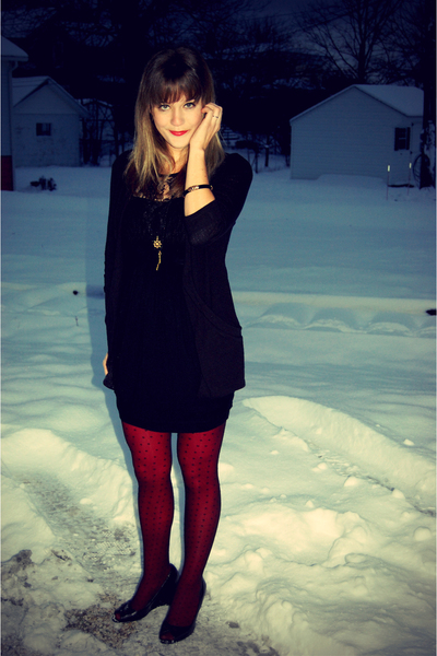 red Target tights - black J Crew tights - black Forever 21 dress
