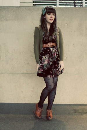 black postcards from swap dress - black Forever 21 tights - olive green H&M card