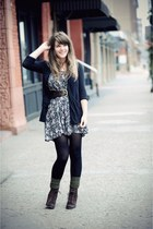 black Urban Outfitters cardigan - black thrifted dress - dark brown seychelles v