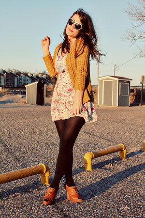 light pink modcloth dress - black Target tights - light pink modcloth sunglasses