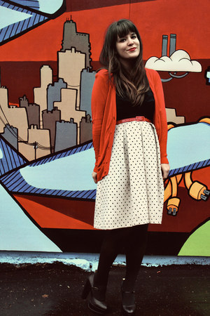 cream modcloth dress - red Limited cardigan - black modcloth heels