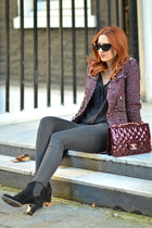 brick red Zara coat - black Zara shoes - brick red Chanel bag