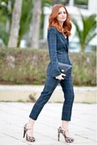 dark green Zara blazer - navy Zara pants - mustard Michael Kors heels