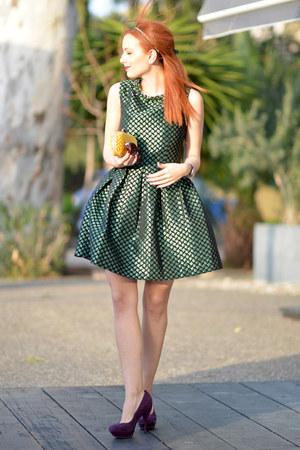 green MINUSEY dress - yellow Bottega Veneta bag