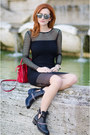 Black-sandro-boots-black-asos-dress-red-celine-bag