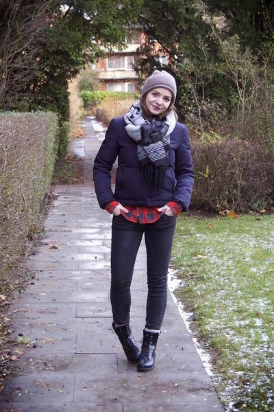 H&M boots - Zara hat - H&M jacket - H&M shirt - H&M scarf - River Island pants