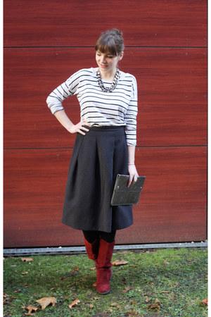 H&M skirt - Mexx boots - GINA TRICOT shirt - Monki bag