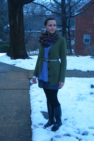 green Anthropologie sweater - blue thrifted t-shirt - gray American Apparel skir